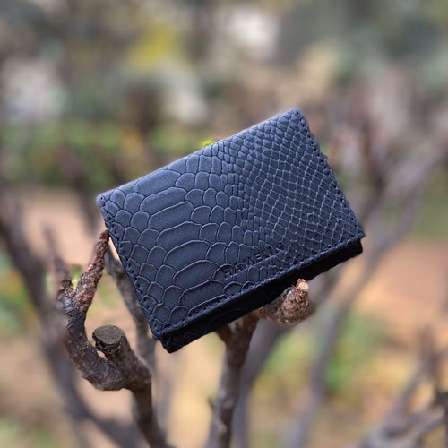 Mega Card Wallet - Black Croc
