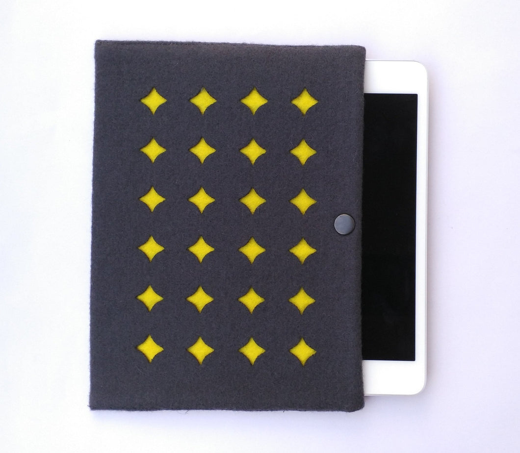 gray and yellow ipad sleeve