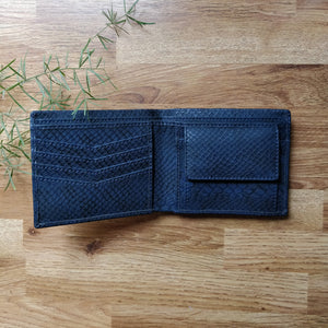 Classic RFID Vegan Wallet for Men with Coin Pocket (Navy Blue Croc)