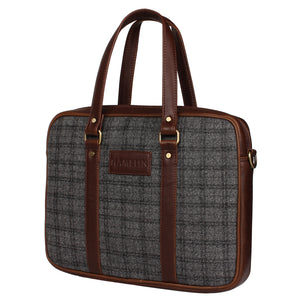 Grey Overcheck Twill - Tweed and Vegan Leather Laptop Bag