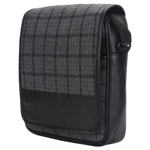 Grey Overcheck Twill - Tweed and Vegan Leather Messenger Bag