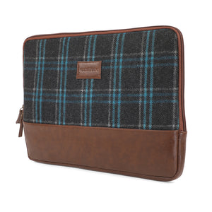 Matt Laptop Sleeve - Blue Overcheck Twill