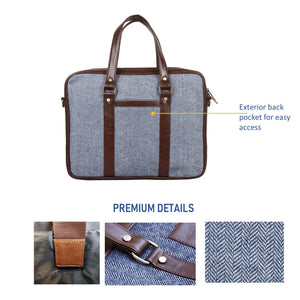 Steel Blue Herringbone - Tweed and Vegan Leather Laptop Bag