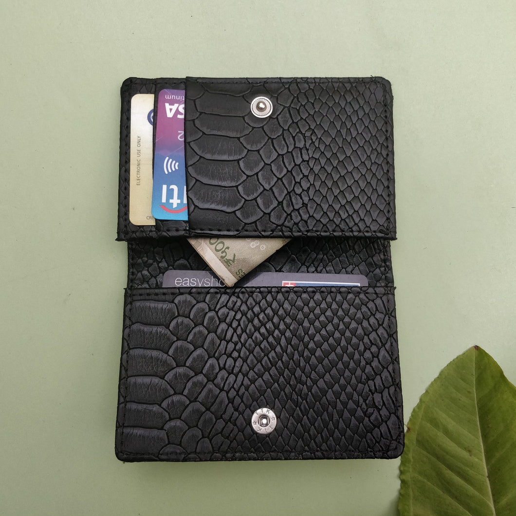 Slim Card Wallet - Black Croc