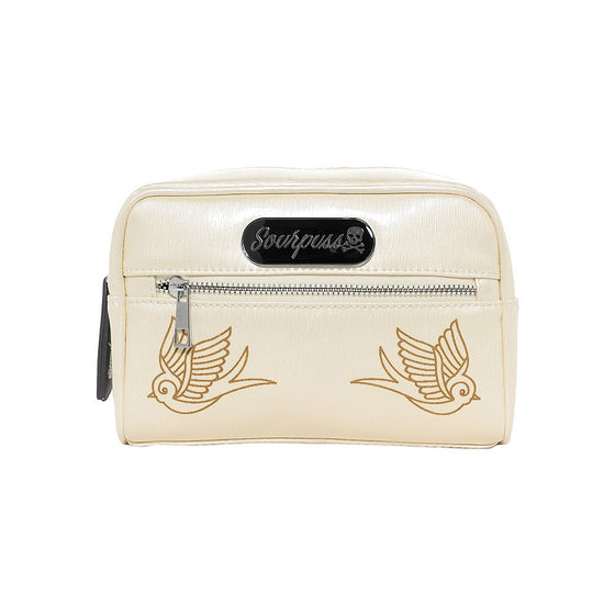 Sourpuss Betsy Makeup Bag Sparrow, Champagne