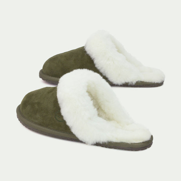 MAYA GREEN, Women's Sheepskin Slippers, SHEPHY®, SHEPHY, The best quality genuine sheepskin ugg slippers for women and men.