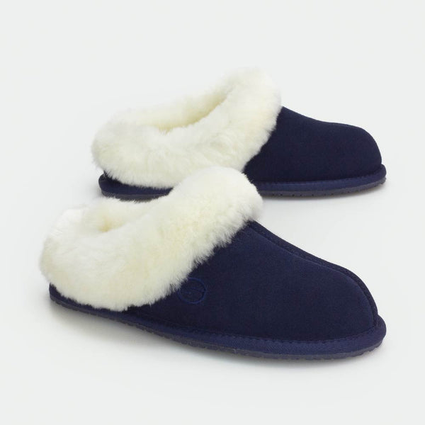 MUSE NAVY, Women's Sheepskin Slippers, SHEPHY®, SHEPHY, The best quality genuine sheepskin ugg slippers for women and men.