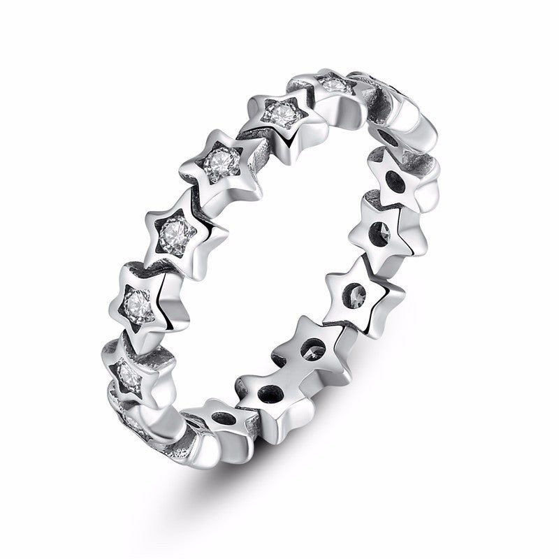 Star Chain Ring with CZ inlay