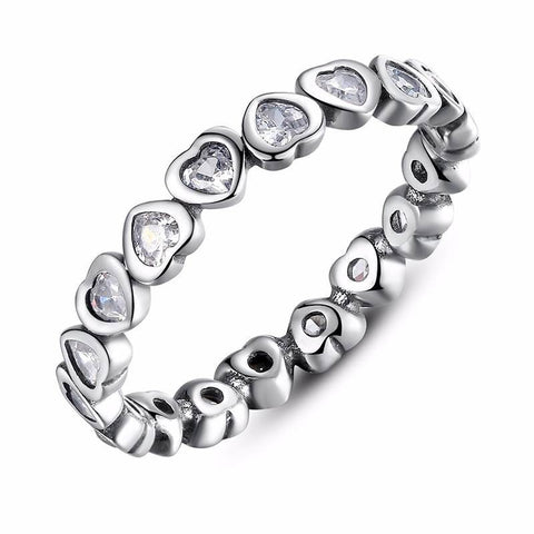 Heart Chain Ring with CZ inlay