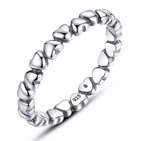 Chain Ring of Solid Hearts Loop