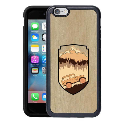 Mangomask™ - Apple iPhone 6 Plus / 6S Plus Mountain-Trees-Jeep-Pattern-Inlay Mahogany on Rosewood Real Wood Slim Mobile Phone Case Back Cover