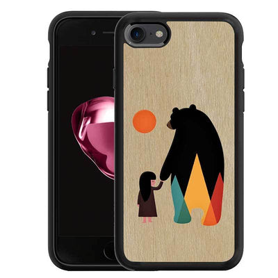 Mangomask™ - Apple iPhone 8 Bear-And-Girl Print on Real Wood Slim Mobile Phone Case Back Cover
