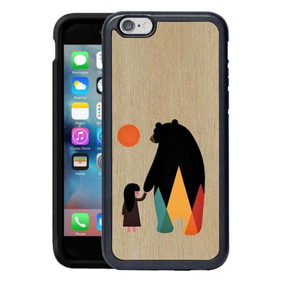 Mangomask™ - Apple iPhone 6 Plus / 6S Plus Bear-And-Girl Print on Real Wood Slim Mobile Phone Case Back Cover