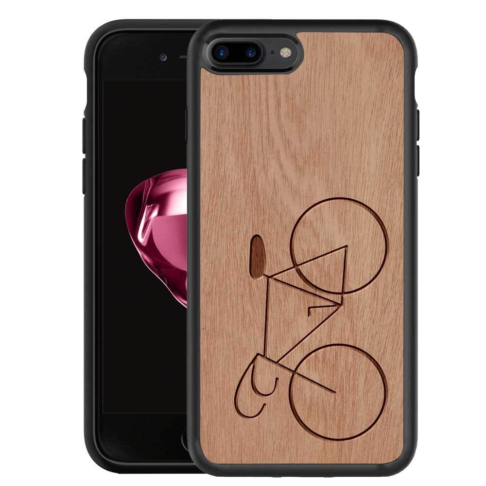 finest selection 6f7f0 a443a Mangomask™ - Apple iPhone 8 PLUS Bicycle Engraved on Mahogany Real Wood  Slim Mobile Phone Case Back Cover