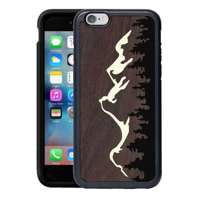 Mangomask™ - Apple iPhone 6 Plus / 6S Plus Mountain-Trees-Pattern-Inlay Mahogany on Rosewood Real Wood Slim Mobile Phone Case Back Cover
