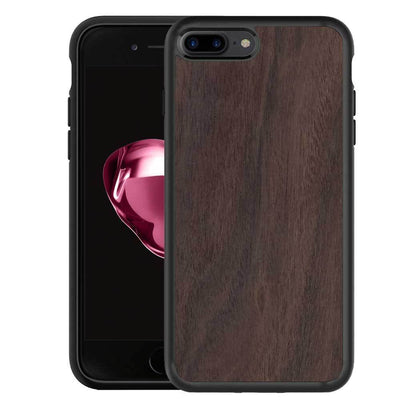 Mangomask™ - Apple iPhone 8 Plus Mobile Plain Rosewood Real Wood Phone Case Back Cover