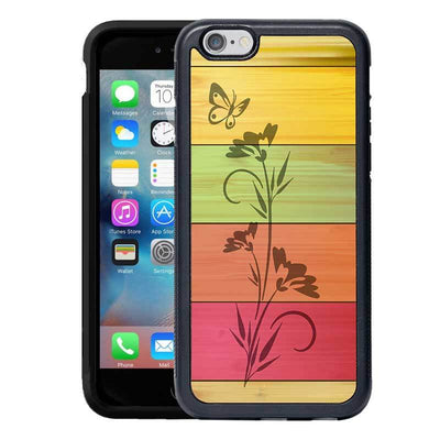 Mangomask™ - Apple iPhone 6 / 6S Flower Print on Real Wood Slim Mobile Phone Case Back Cover