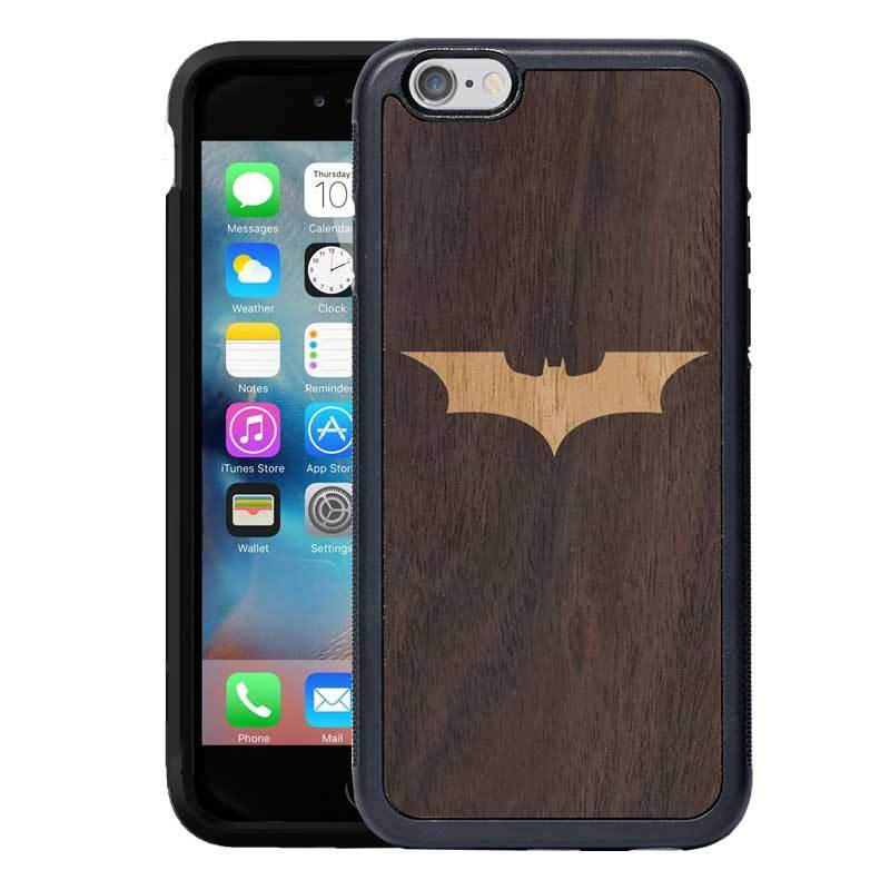 premium selection 58f7e de37d Mangomask™ - Apple iPhone 6 Plus / 6S Plus Batman Logo Inlay on Mahogany  Real Wood Slim Mobile Phone Case Back Cover