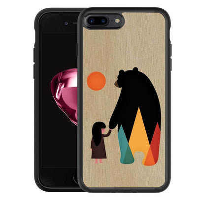 Mangomask™ - Apple iPhone 7PLUS Bear-And-Girl Print on Real Wood Slim Mobile Phone Case Back Cover