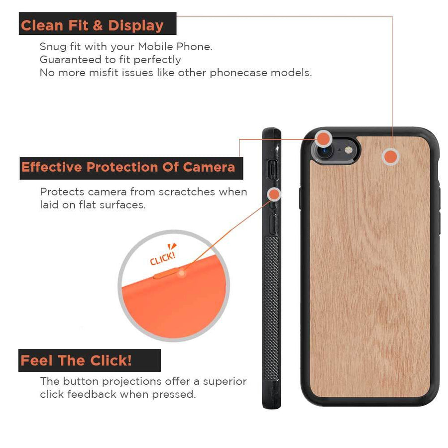 Mangomask™ - Apple iPhone 8 Mobile Mahogany Real Wood Phone Case Back Cover