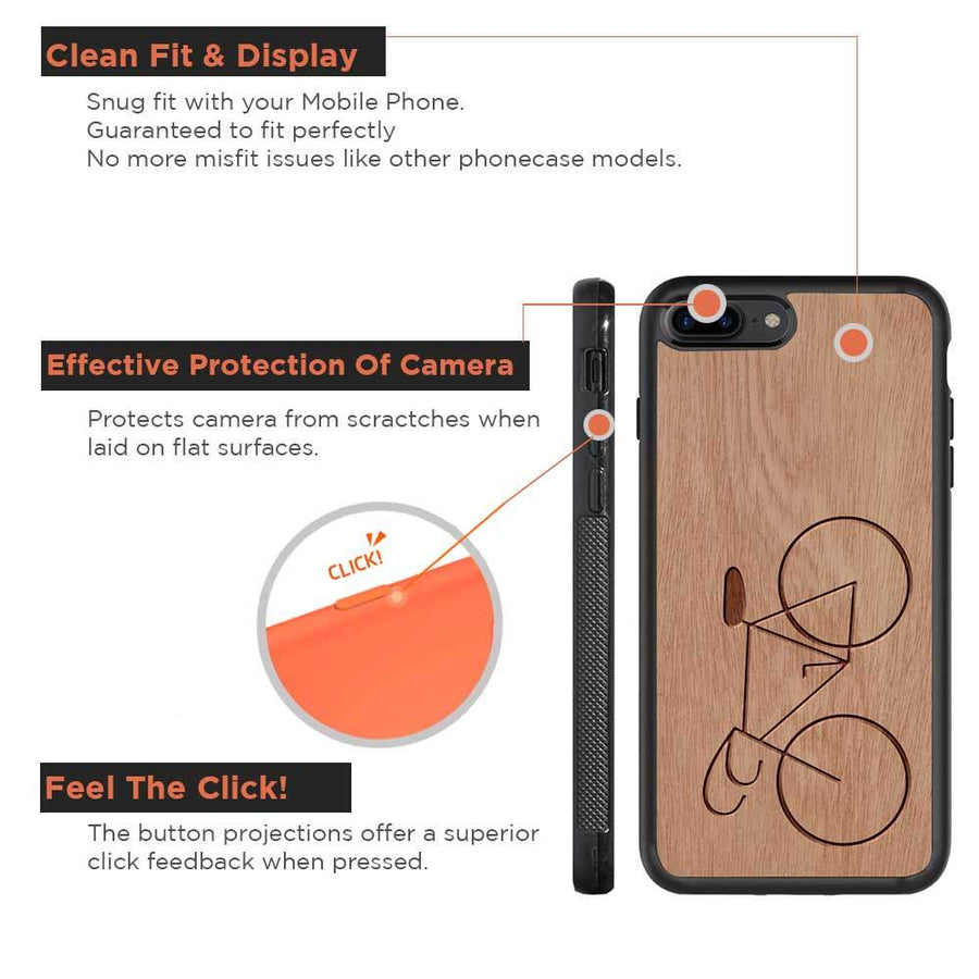 Mangomask™ - Apple iPhone 8 PLUS   Bicycle Engraved on Mahogany Real Wood Slim Mobile Phone Case Back Cover