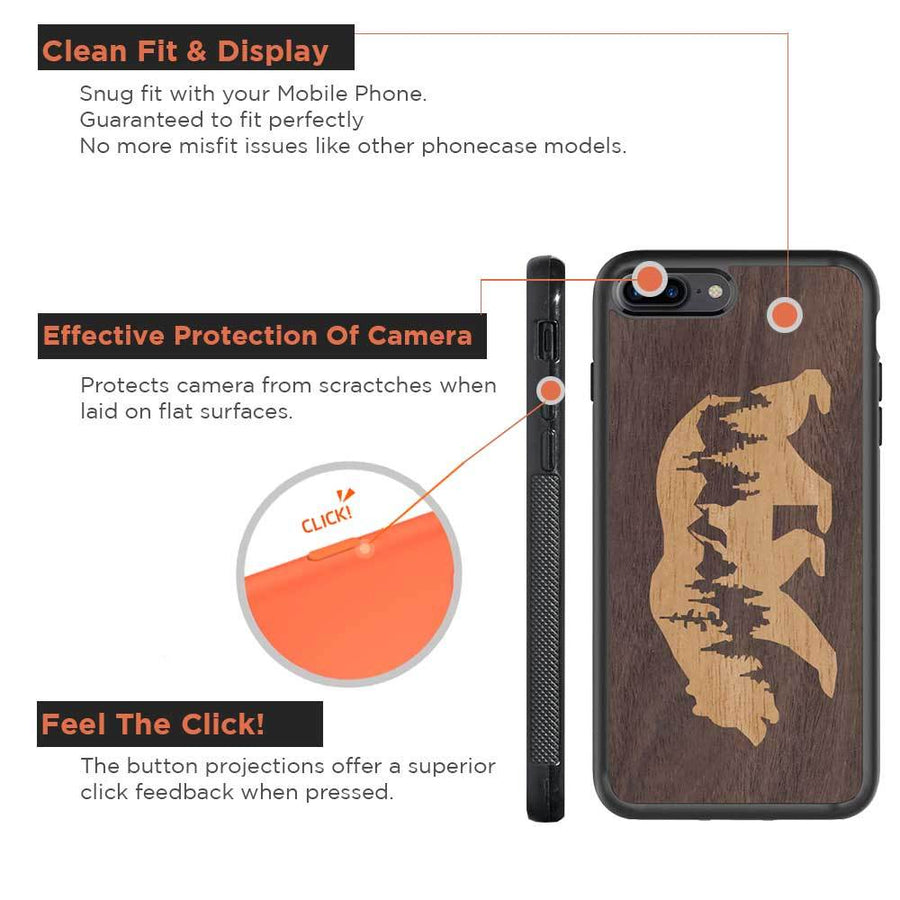 Mangomask™ - Apple iPhone 7PLUS Mountain-Bear-Inlay Mahogany AND Rosewood Real Wood Slim Mobile Phone Case Back Cover