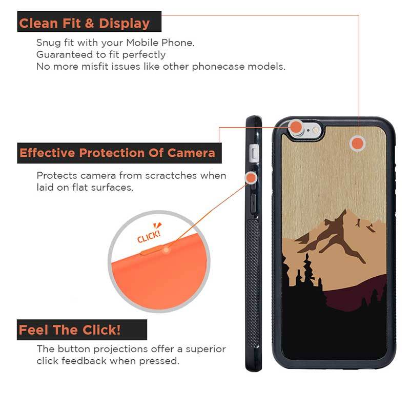 Mangomask™ - Apple iPhone 6 Plus / 6S Plus Mountain-Pattern-Inlay Mahogany and Rosewood Real Wood Slim Mobile Phone Case Back Cover