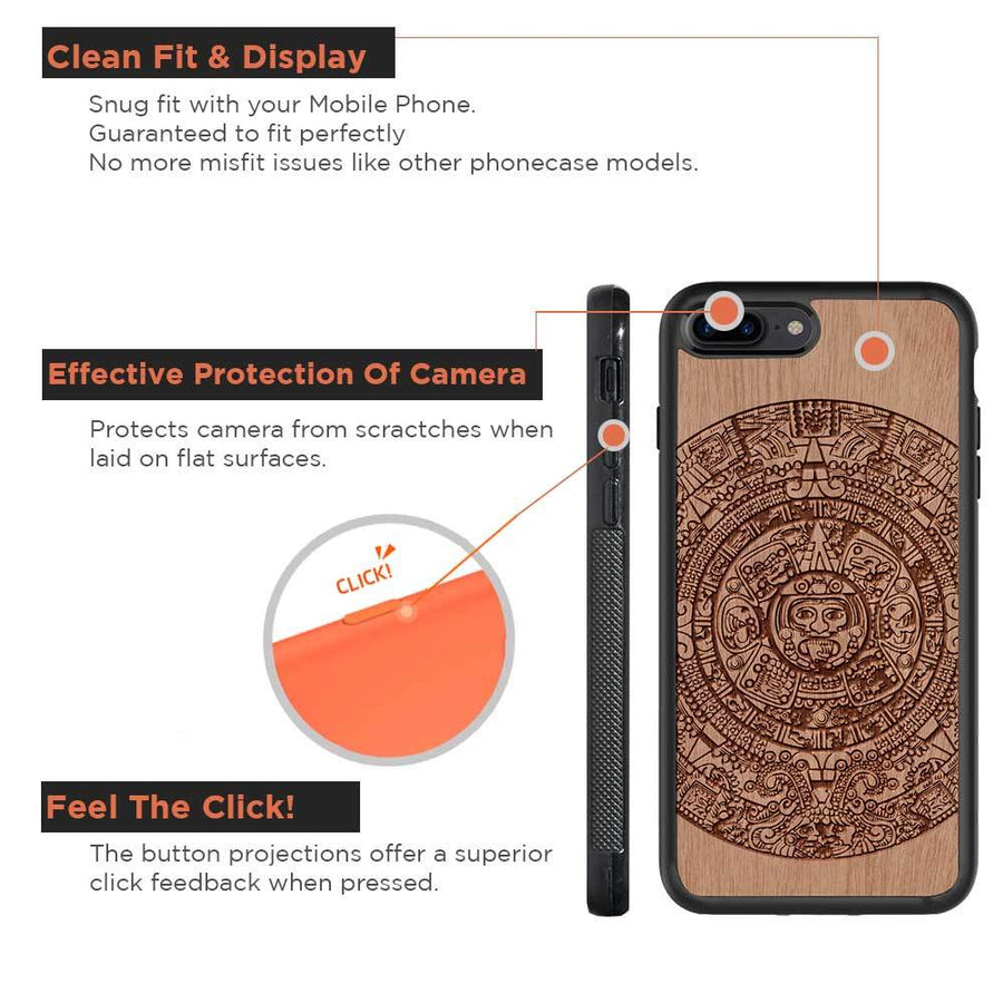 Mangomask™ - Apple iPhone 7 Aztec-Calendar Engraved on Mahogany Real Wood Slim Mobile Phone Case Back Cover  in India at Mangomask