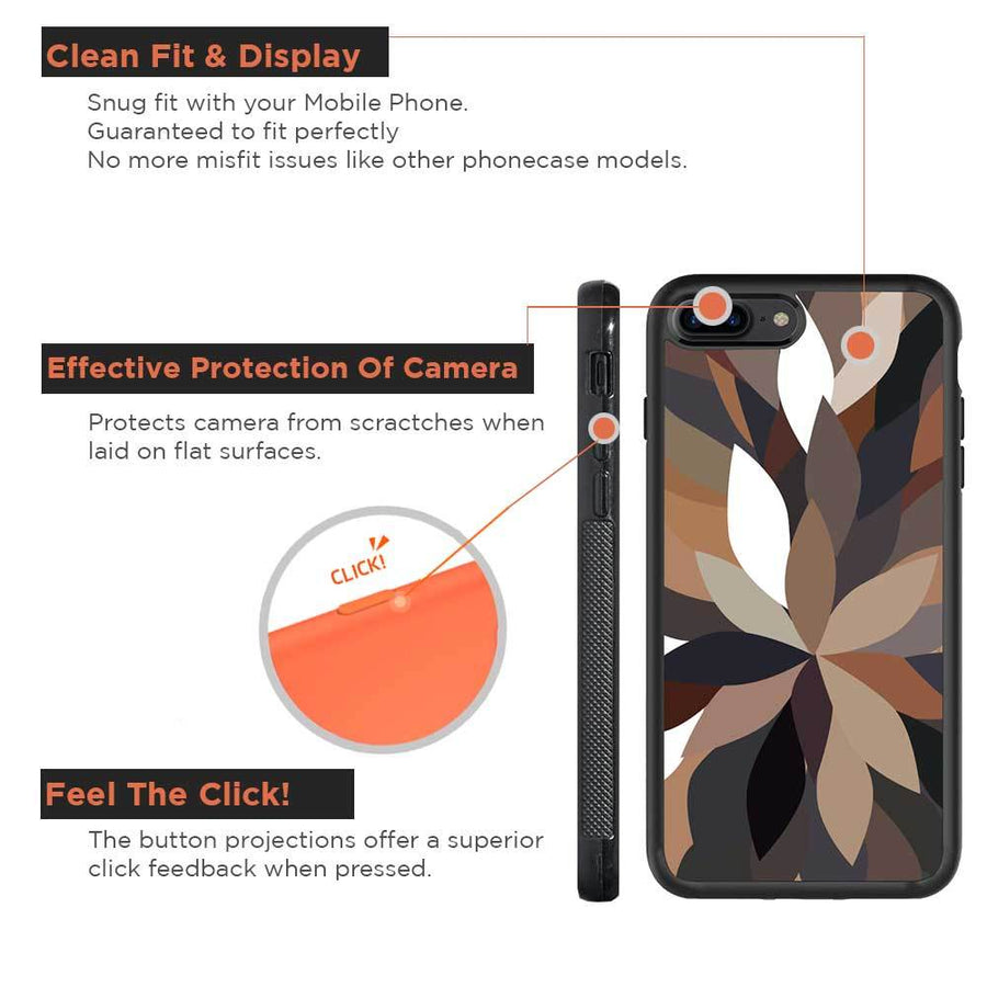 Mangomask™ - Apple iPhone 8 Plus Dark-Floral-Pattern Print on Real Wood Slim Mobile Phone Case Back Cover