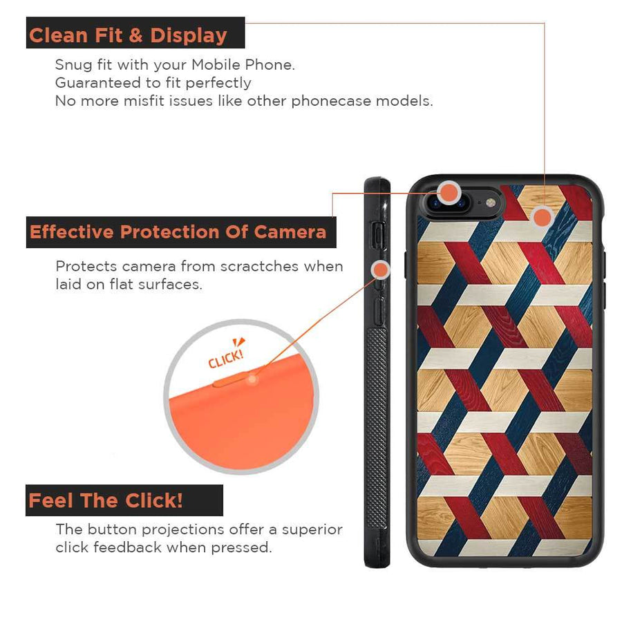 Mangomask™ - Apple iPhone 7Plus Criss Cross Pattern Print on Real Wood Slim Mobile Phone Case Back Cover