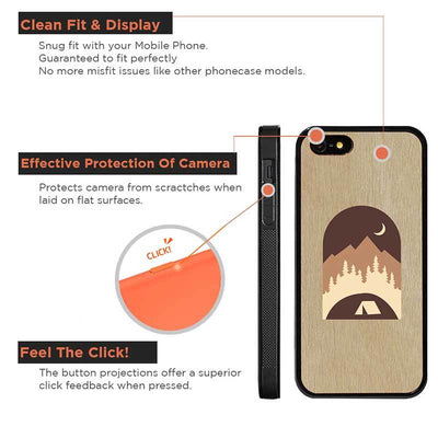 Mangomask™ - Apple iPhone 5 / 5s / SE Mountain-Camping-Tent-Inlay Mahogany AND Rosewood Real Wood Slim Mobile Phone Case Back Cover
