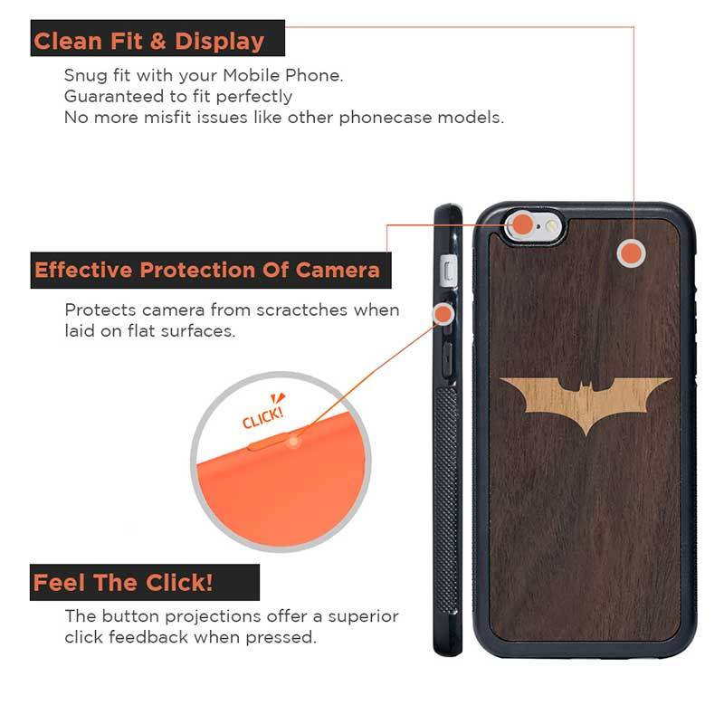 Mangomask™ - Apple iPhone 6 / 6S Batman Logo Inlay on Mahogany Real Wood Slim Mobile Phone Case Back Cover