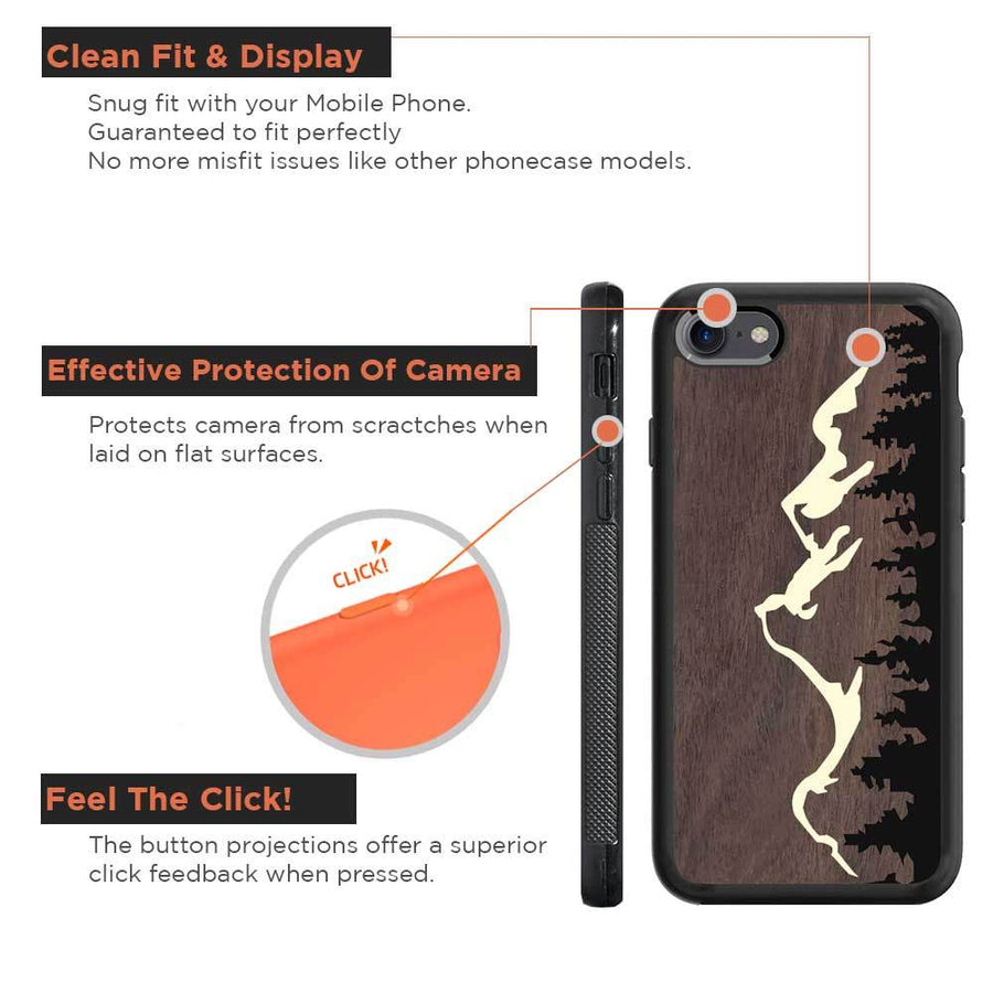 Mangomask™ - Apple iPhone 8 Mountain-Trees-Jeep-Pattern-Inlay Mahogany on Rosewood Real Wood Slim Mobile Phone Case Back Cover