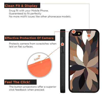 Mangomask™ - Apple iPhone 5 / 5s / SE Dark-Floral-Pattern Print on Real Wood Slim Mobile Phone Case Back Cover