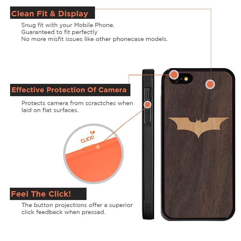 Mangomask™ - Apple iPhone 5 / 5s / SE Batman Logo Inlay on Mahogany on Rosewood - Real Wood Slim Mobile Phone Case Back Cover