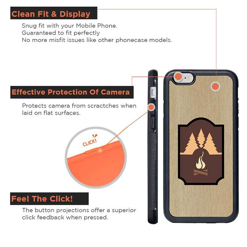Mangomask™ - Apple iPhone 6 / 6S Mountain-camping-Inlay Mahogany AND Rosewood Real Wood Slim Mobile Phone Case Back Cover