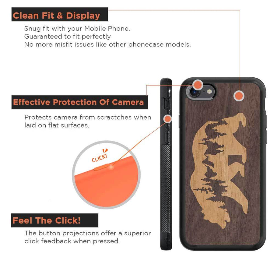 Mangomask™ - Apple iPhone 8 Mountain-Bear-Inlay Mahogany AND Rosewood Real Wood Slim Mobile Phone Case Back Cover