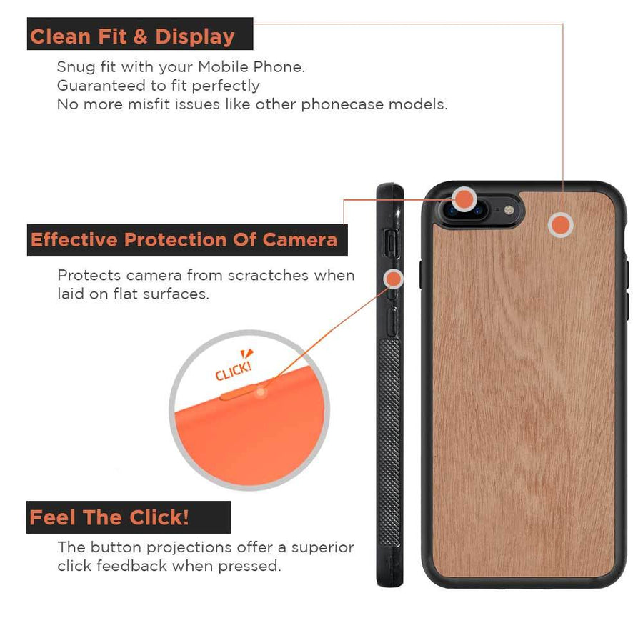 Mangomask™ - Apple iPhone 7Plus Mobile Plain Mahogany Real Wood Phone Case Back Cover
