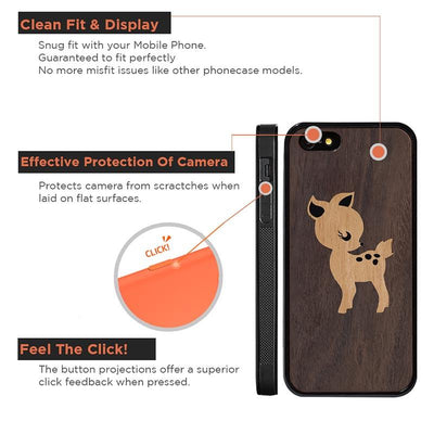 Mangomask™ - Apple iPhone 5 / 5s / SE Fawn Inlay Mahogany on Rosewood Real Wood Slim Mobile Phone Case Back Cover