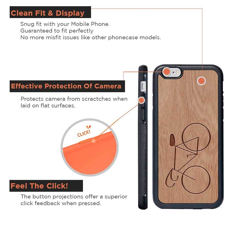 Mangomask™ - Apple iPhone 6 / 6S Bicycle Engraved on Mahogany Real Wood Slim Mobile Phone Case Back Cover