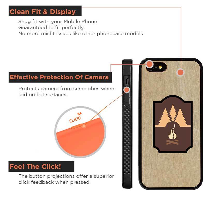Mangomask™ - Apple iPhone 5 / 5s / SE Mountain-Camping-Inlay Mahogany AND Rosewood Real Wood Slim Mobile Phone Case Back Cover