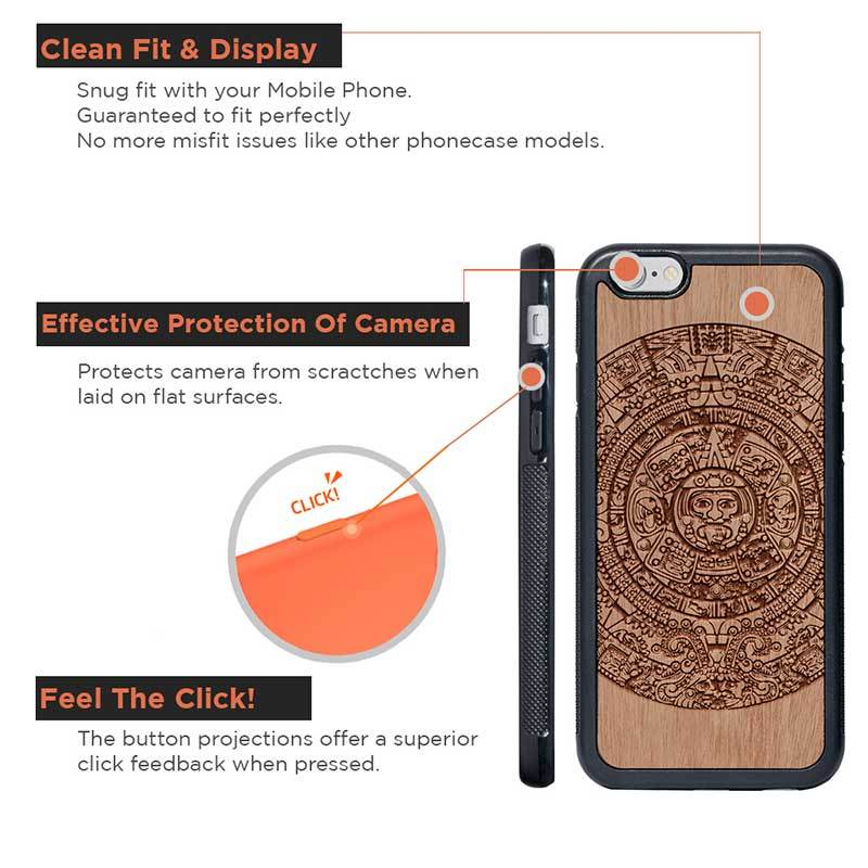 Mangomask™ - Apple iPhone 6 / 6S Aztec-Calendar Engraved on Mahogany Real Wood Slim Mobile Phone Case Back Cover