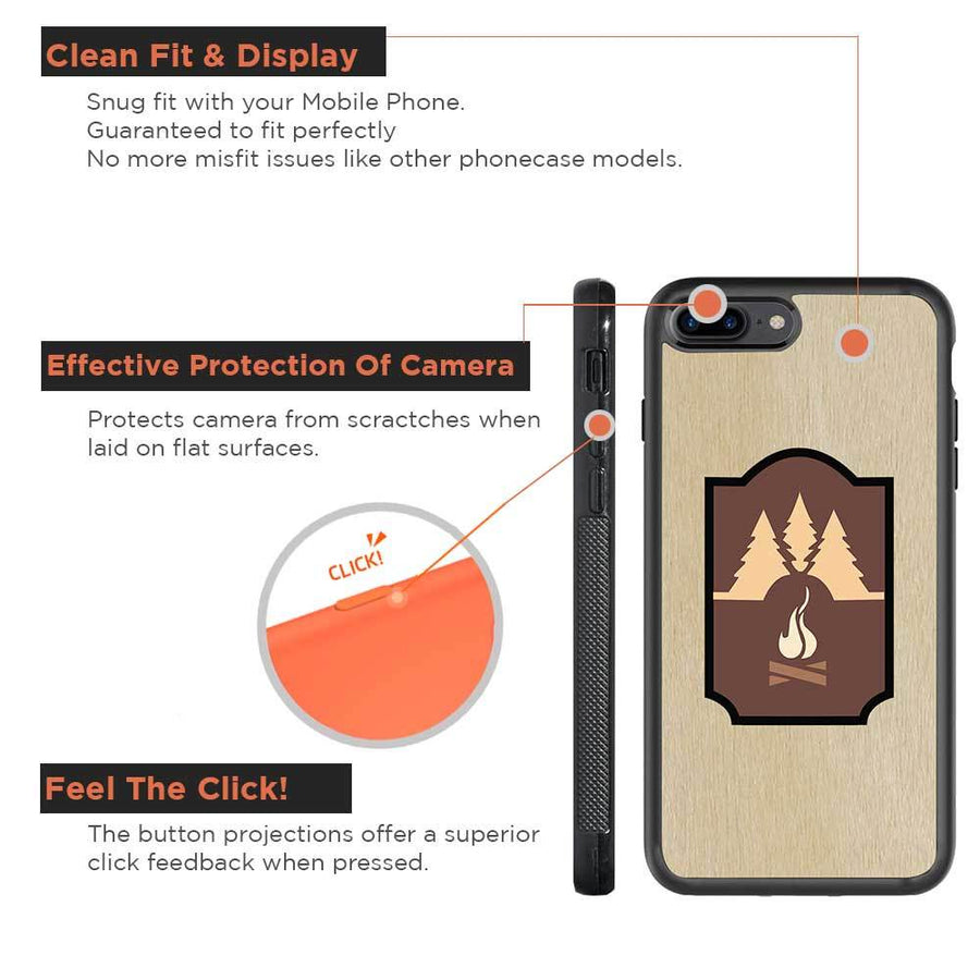 Mangomask™ - Apple iPhone 7PLUS Mountain-camping-Inlay Mahogany AND Rosewood Real Wood Slim Mobile Phone Case Back Cover
