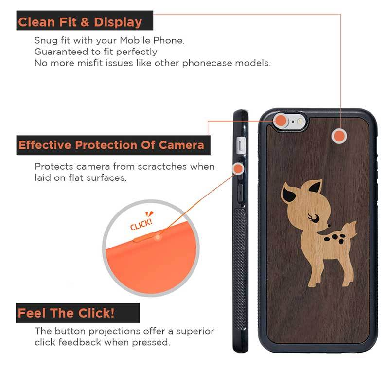 Mangomask™ - Apple iPhone 6 / 6S Fawn Mahogany on Rosewood Real Wood Slim Mobile Phone Case Back Cover