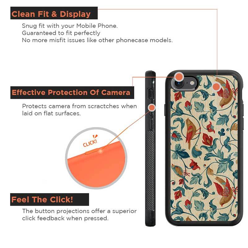 Mangomask™ - Apple iPhone 8 Flower-Kalamkari -Kalamkari Print on Real Wood Slim Mobile Phone Case Back Cover