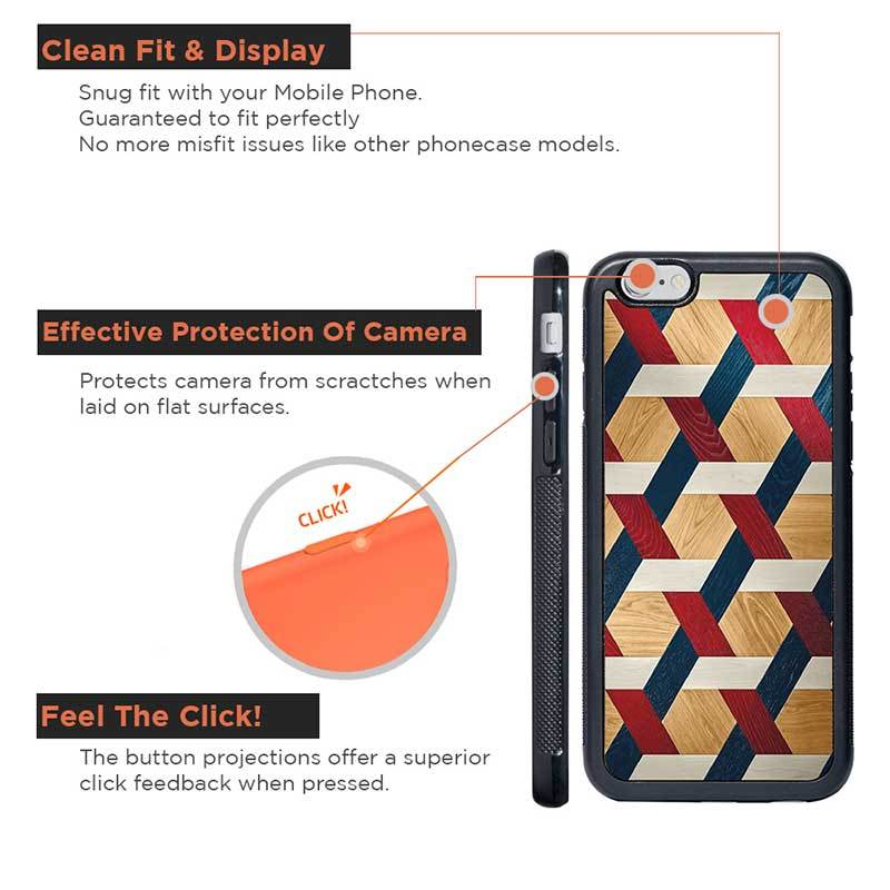 Mangomask™ - Apple iPhone 6 / 6S  Criss Cross Pattern Print on Real Wood Slim Mobile Phone Case Back Cover