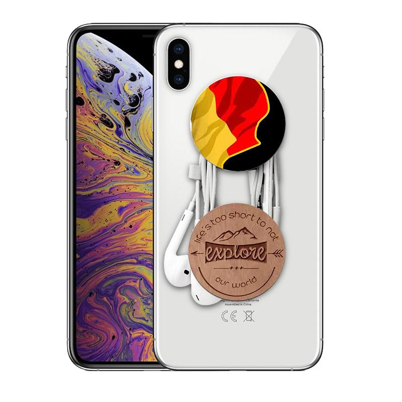POPSOCKETS BLACK Mangomask™ Pop Sockets - Awesome Designs To Choose Realwood Cherry Plain (Black base /White base)