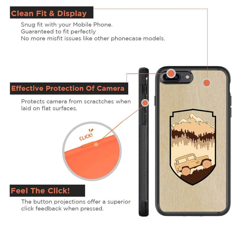 Mangomask™ -  Apple iPhone 8 Plus Mountain-Trees-Jeep-Pattern-Inlay Mahogany on Rosewood Real Wood Slim Mobile Phone Case Back Cover