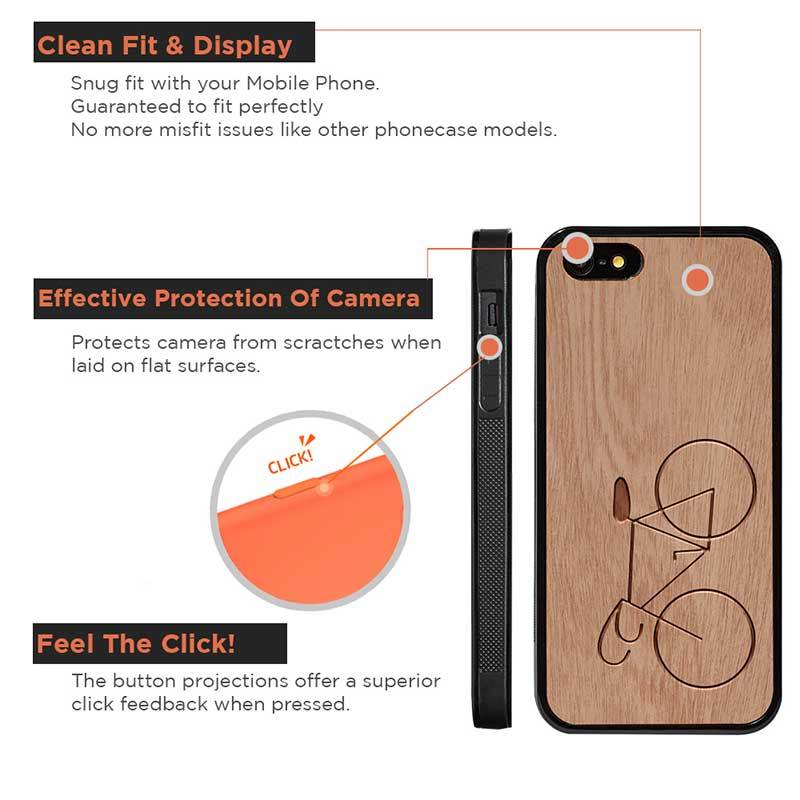 Mangomask™ - Apple iPhone 5 / 5s / SE Bicycle Engraved on Mahogany Real Wood Slim Mobile Phone Case Back Cover