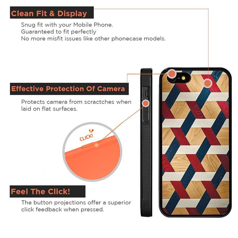 Mangomask™ - Apple iPhone 5 / 5s / SE Criss Cross Pattern Print on Real Wood Slim Mobile Phone Case Back Cover